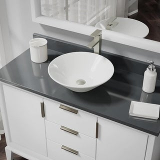 R2-5015-B-R9-7003 Biscuit Porcelain Vessel Sink with Vessel Faucet and Vessel Pop-Up Drain