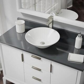 R2-5015-B-R9-7003 Biscuit Porcelain Vessel Sink with Vessel Faucet and Vessel Pop-Up Drain