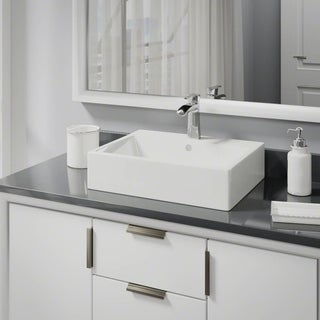 R2-5018-B-R9-7008 Biscuit Porcelain Vessel Sink with Vessel Faucet and Vessel Pop-Up Drain