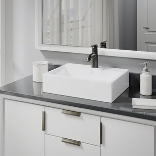 R2-5018-W-R9-7009 White Porcelain Vessel Sink with Vessel Faucet and Vessel Pop-Up Drain