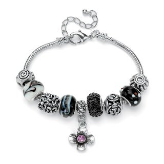 Black and Purple Crystal Bali-Style Charm and Spacer Bracelet in Silvertone Color Fun