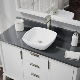 R2-5011-W-R9-7003 White Porcelain Vessel Sink with Vessel Faucet and Vessel Pop-Up Drain