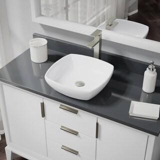 R2-5011-W-R9-7003 White Porcelain Vessel Sink with Vessel Faucet and Vessel Pop-Up Drain