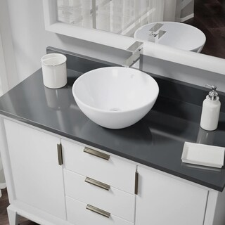 R2-5031-W-R9-7003 White Porcelain Vessel Sink with Vessel Faucet and Vessel Pop-Up Drain