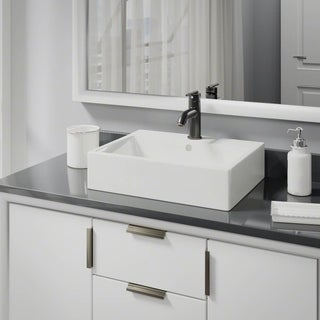 R2-5018-B-R9-7009 Biscuit Porcelain Vessel Sink with Vessel Faucet and Vessel Pop-Up Drain