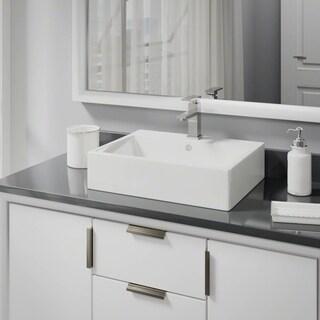 R2-5018-B-R9-7002 Biscuit Porcelain Vessel Sink with Vessel Faucet and Vessel Pop-Up Drain