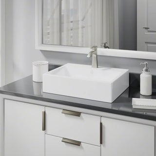 R2-5018-W-R9-7005 White Porcelain Vessel Sink with Vessel Faucet and Vessel Pop-Up Drain