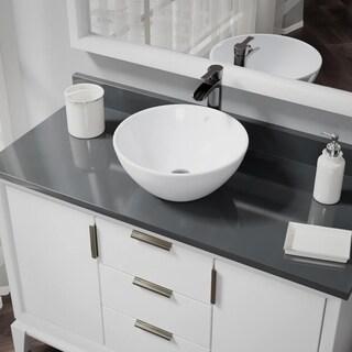 R2-5031-W-R9-7007 White Porcelain Vessel Sink with Vessel Faucet and Vessel Pop-Up Drain
