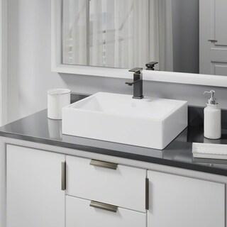 R2-5018-W-R9-7002 White Porcelain Vessel Sink with Vessel Faucet and Vessel Pop-Up Drain