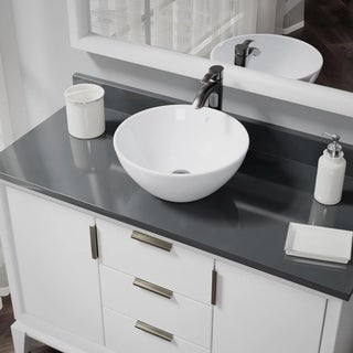 R2-5031-W-R9-7006 White Porcelain Vessel Sink with Vessel Faucet and Vessel Pop-Up Drain