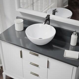 R2-5031-W-R9-7006 White Porcelain Vessel Sink with Vessel Faucet and Vessel Pop-Up Drain