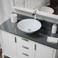 R2-5015-W-R9-7007 White Porcelain Vessel Sink with Vessel Faucet and Vessel Pop-Up Drain