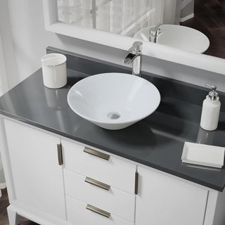 R2-5015-W-R9-7007 White Porcelain Vessel Sink with Vessel Faucet and Vessel Pop-Up Drain