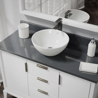 R2-5031-B-R9-7003 Biscuit Porcelain Vessel Sink with Vessel Faucet and Vessel Pop-Up Drain