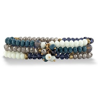 """Blue And Grey Faceted Beaded Triple-Strand Stretch Bracelet Set 8"""" Bold Fashion"""