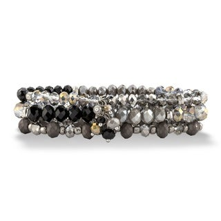 """Black and Silver Faceted Silvertone Beaded Triple-Strand Stretch Bracelet Set 8"""" Bold Fashion"""