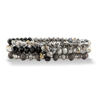 "Black and Silver Faceted Silvertone Beaded Triple-Strand Stretch Bracelet Set 8"" Bold Fashion"