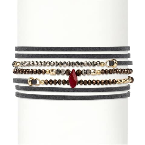 "Multicolor Faceted Bead Accent Grey Suede Wraparound Stretch Bracelet Gold-Plated 36""-37.5"" Bold Fashion"