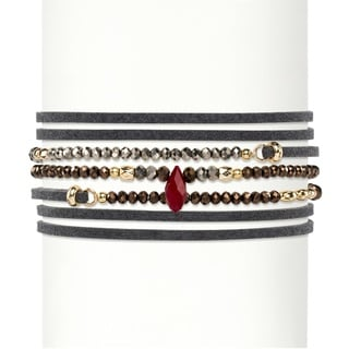 """Multicolor Faceted Bead Accent Grey Suede Wraparound Stretch Bracelet Gold-Plated 36""""-37.5"""" Bold Fashion"""