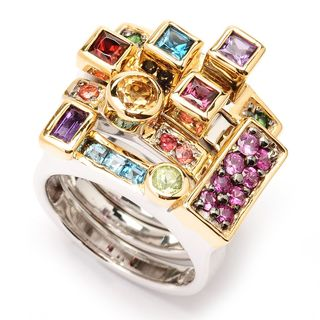 """Michael Valitutti Palladium Silver """"Manhattan Stack"""" Set of Four Gemstone Stack Band Rings (3 options available)"""