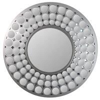 "24.75"" Glamorous Cascading Orbs Silver Framed Round Wall Mirror - A/N"