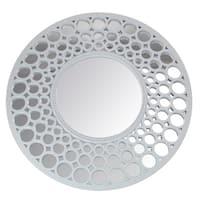 "24.75"" Glamorous Cascading Orbs White Framed Round Wall Mirror"