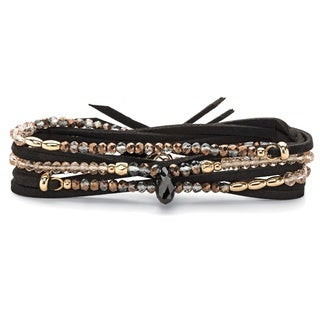 Multicolor Faceted Beaded Wraparound Stretch Bracelet In Black Suede With Accents Bo