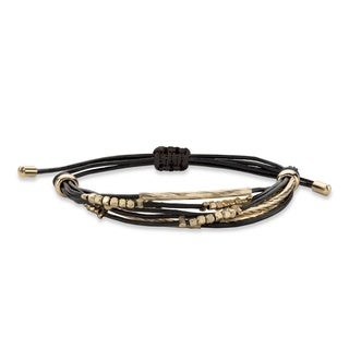 "Black and Gold Beaded Drawstring Rope Bracelet with 18k Yellow Gold-Plated Accents 10"" Bold Fashion"