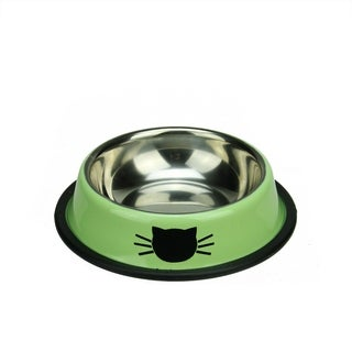 "6"" Pistachio Green Stainless Steel Cat Feeding or Water Bowl"