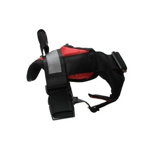 Adjustable Red and Black Heavy Duty Nylon Dog Harness with Silver Reflective Band - Small