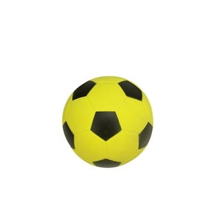 """3.5"""" High Bounce Yellow and Black Rubber Soccer Ball Sports Themed Puppy Dog Fetch Toy"""