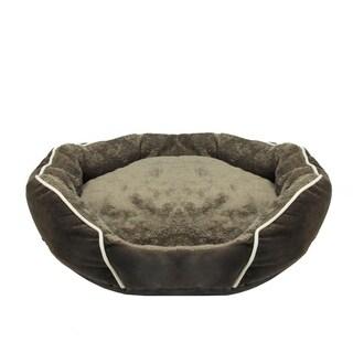 Dark Brown Faux Fur Self Heating Plush Dog Bed Sleeper Lounge - Large