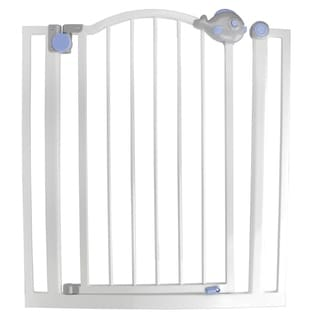 Pop-O-Fish Gray White and Blue Double Locking Safety Gate for Dogs and Children