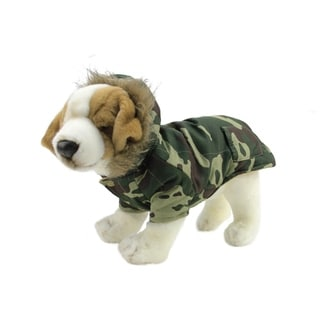 Green and Brown Camouflage Hooded Fleece Lined Reversible Dog Jacket - Medium