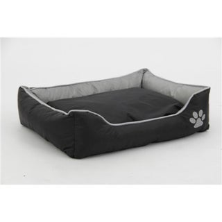 Gray and Black Waterproof Plush Oxford Pet Bed Sleeper Lounge - Extra Small