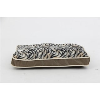 Luxurious Zebra Faux Fur Plush Waterproof Oxford Pet Pillow Sleeper Bed - Large
