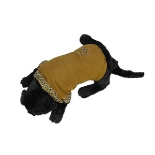 Mocha Brown and Leopard Design Paw Print Fashion Fleece Lined Reversible Dog Jacket - Large