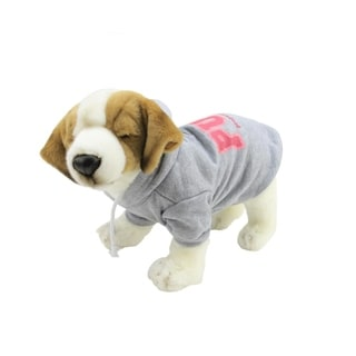 """Heather Gray and Pink Cotton """"Property of Pup"""" Dog Hooded Sweatshirt - Large"""