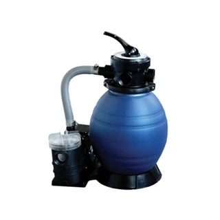 "12"" Top-Mount Above-Ground Swimming Pool and Spa Sand Filter and .35 HP Pump System - gray"