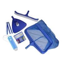 5-Piece Deluxe Swimming Pool Kit - Vacuum  Leaf Rake  Brush  Thermometer and Test Kit - Blue