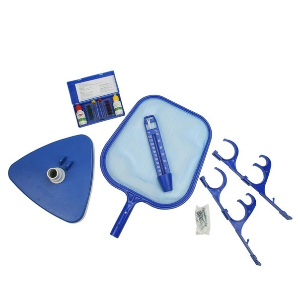 5-Piece Deluxe Swimming Pool Kit - Vacuum  Skimmer  Pole and Hose Hooks  Thermometer and Test Kit - Blue