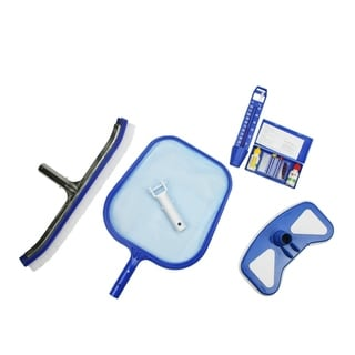 5-Piece Deluxe Swimming Pool Kit - Vacuum  Leaf Skimmer  Wall Brush  Thermometer and Test Kit - Blue
