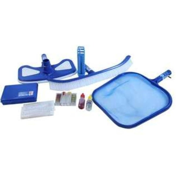 5-Piece Premium Swimming Pool Cleaning Maintenance Set with Test Kit - Blue