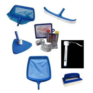 7-Piece Deluxe Swimming Pool Kit - Vacuum  Leaf Rake  Brush  Thermometer  Test Kit  Scrubbing Pad and Skimmer - Blue