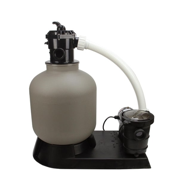 """24"""" Top-Mount Above-Ground Swimming Pool and Spa Sand Filter and 1.5 HP Pump System - gray"""