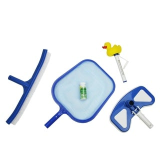 5-Piece Deluxe Swimming Pool Kit - Vacuum  Leaf Skimmer  Brush  Duck Thermometer and Test Strips - Blue