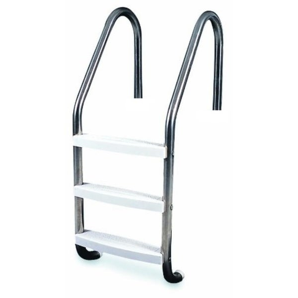 "52"" Three Step Stainless Steel In-Ground Swimming Pool Deck Ladder - Silver"