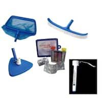 6-Piece Deluxe Swimming Pool Kit - Vacuum Leaf Rake Brush Pole and Hose Hooks Thermometer and Test Kit - Blue
