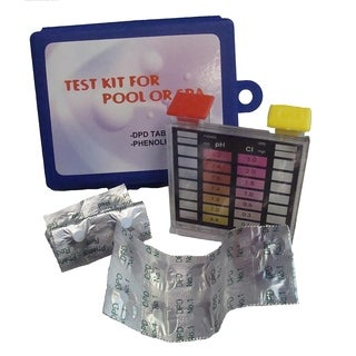 Deluxe 2-Way Swimming Pool Test Tablet Kit with Case - Tests pH and Chlorine - Multi-colored
