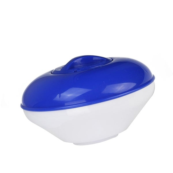 "9"" Classic Blue and White Floating Swimming Pool Chlorine Dispenser with Collapsible Base"